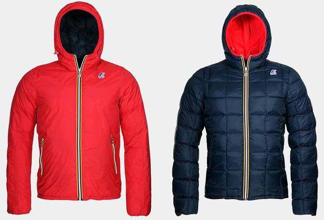 piumino k way jacques double face rosso blu